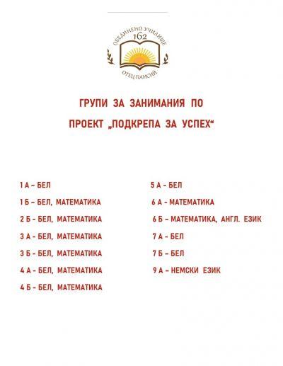 "Проект ""Подкрепа за успех"" - 162 ОбУ Отец Паисий - София"